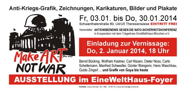 MAKE ART NOT WAR Januar 2014 EWH